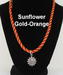 Sterling Silver Sunflower Locket with Gold-orange Cord