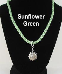 Sunflower with Green Braid necklace