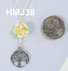 Small Light Yellow Flower and Tree of Life with Silver Accents