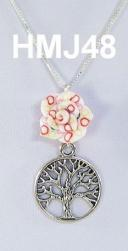 Small White with Red Flower and Silver Tree of Life