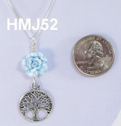 Small Light Blue and White Flower and Silver Tree of Life