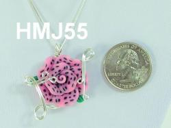 Medium Pink - Strawberry Like Flower with Silver accents