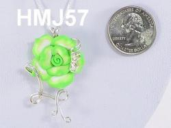 Medium sized - Lime Green Flower with Silver accents
