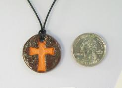 Peacock Cross Glazed Pendants
