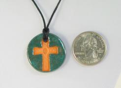 Seafoam Cross Glazed Pendants