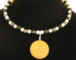 Yin Yang Mother of Pearl, Snowflake Obsidian and Black Glass Beads