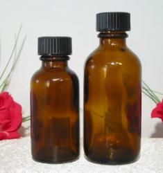 Amber bottles with Polyseal caps