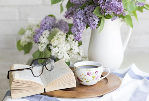 Cup of Coffee with lilacs